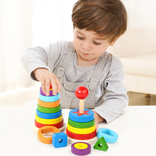 Game Kids Toys Rainbow-Pyramid Puzzle Reaction Baby-Shape Children for DIY Birthday-Present