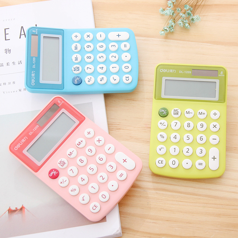 Deli Color Mini Solar Calculator Cartoon Student Calculator Portable Business Calculator School Office Supplies