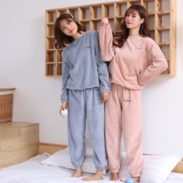 2019 New Winter  Warm Sleepwear Suit Pajama Sleeping Clothes Women Night Suits Ladies 1185