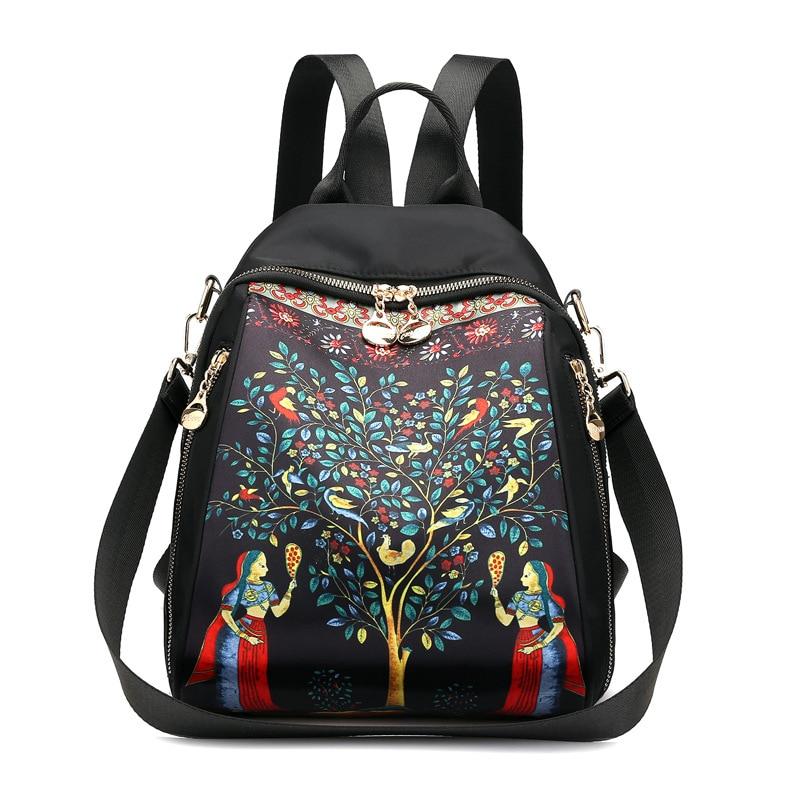 Double sac à bandoulière femme mode impression nylon imperméable à l'eau en plein air sac à dos style national grande capacité oblique sac à bandoulière