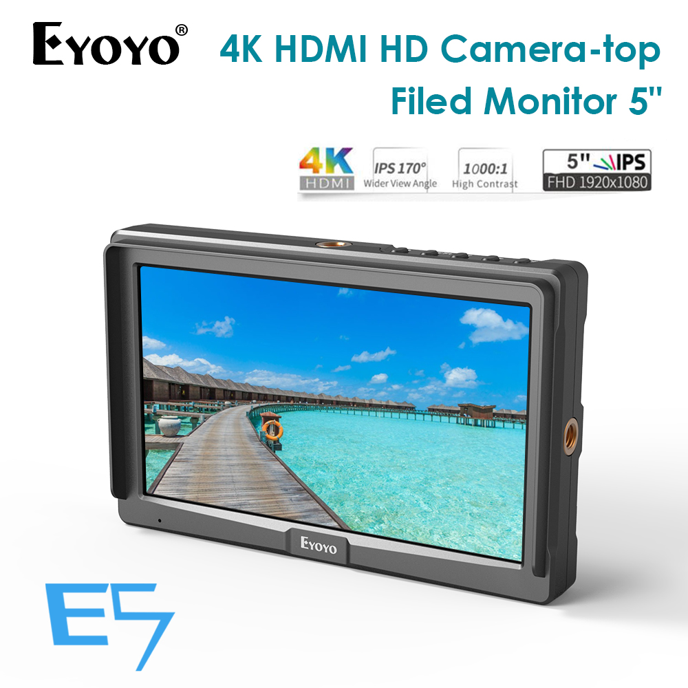 Eyoyo E5 5 Inches 1920x1080 Mini Field IPS Video Monitor DSLR On Camera monitor 4K HDMI IN OUT for Gimbals Stabilizer Magic Arm|Monitor|Consumer Electronics - title=