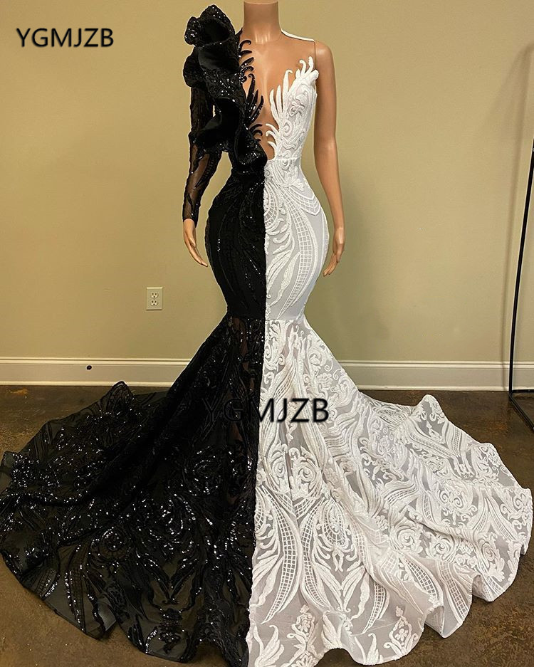 Черно-белые платья на одно плечо для выпускного вечера 2021 года с блестками и длинными рукавами для черных девушек африканских женщин вечерн...
