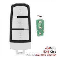 3 Buttons Keyless Uncut Flip Smart Remote Key Fob with ID48 Chip 3C0959752BA for For-VW For-Passat B6 3C B7 Magotan CC 2006-2011 недорого