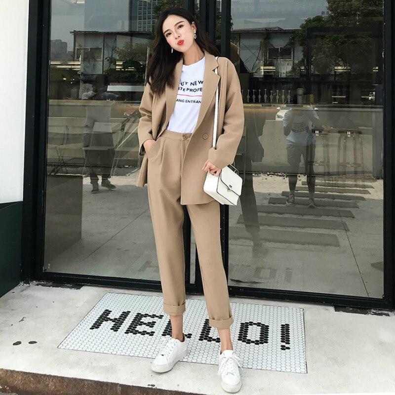 Women's Pants Suit Two-piece Women's Suits Autumn New Casual Solid Color Women's Blazer Female Office Suit Pants Jacket 2019