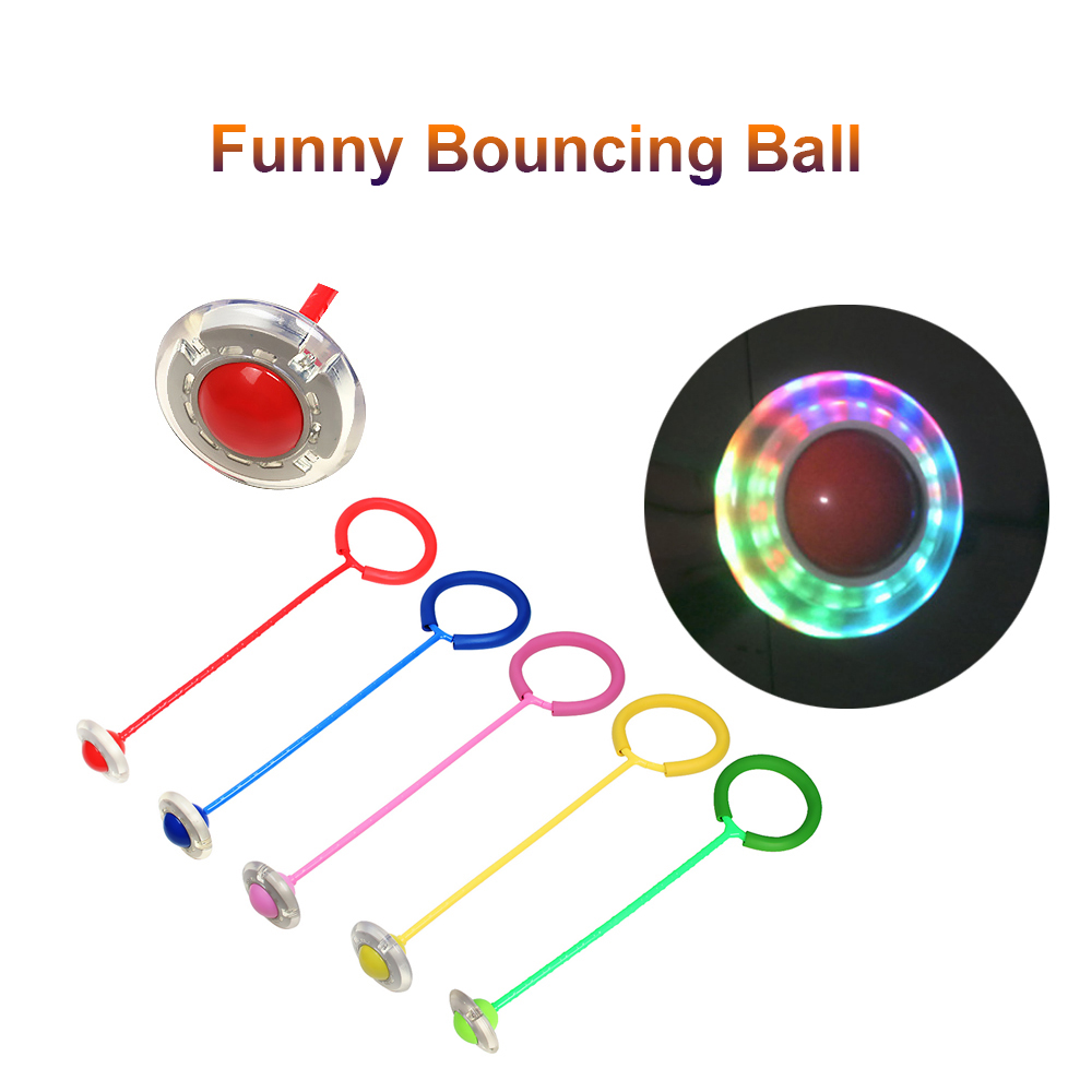 TOMSHOO Flshing Bouncing Balls Sports Swing Ball One Foot Skip Ball Jump Ropes Children Fitness Playing Entertainment Toys