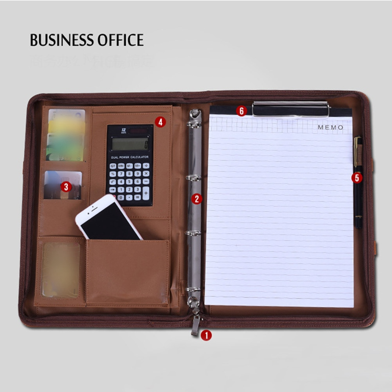 A4 PU Leather Portable File Folder With Calculator Multi-function Business Document Pads Manager Portfolio Office Supplies