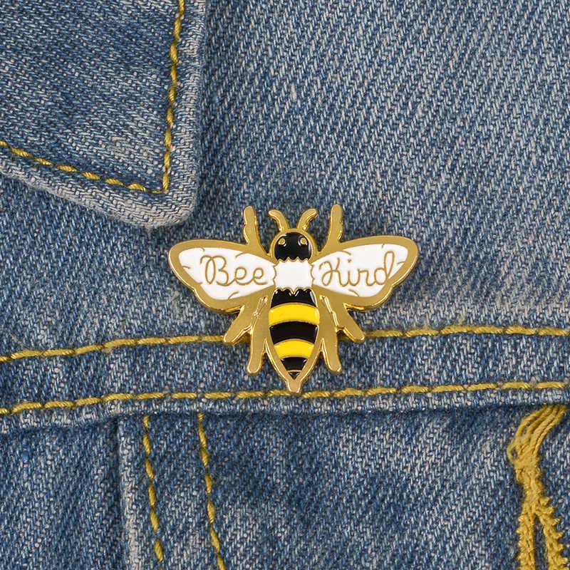 親切蜂エナメルピン勤勉収集蜂蜜ブローチ親切昆虫ラペルピンバッジシャツバックパックジュエリーギフトピン