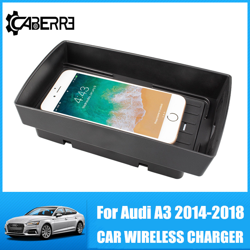 QI Wireless Car Charger For Audi A3 2014 2015 2016 2017 2018 Intelligent Infrared Fast Wireless SensitiveCharging Phone Holder