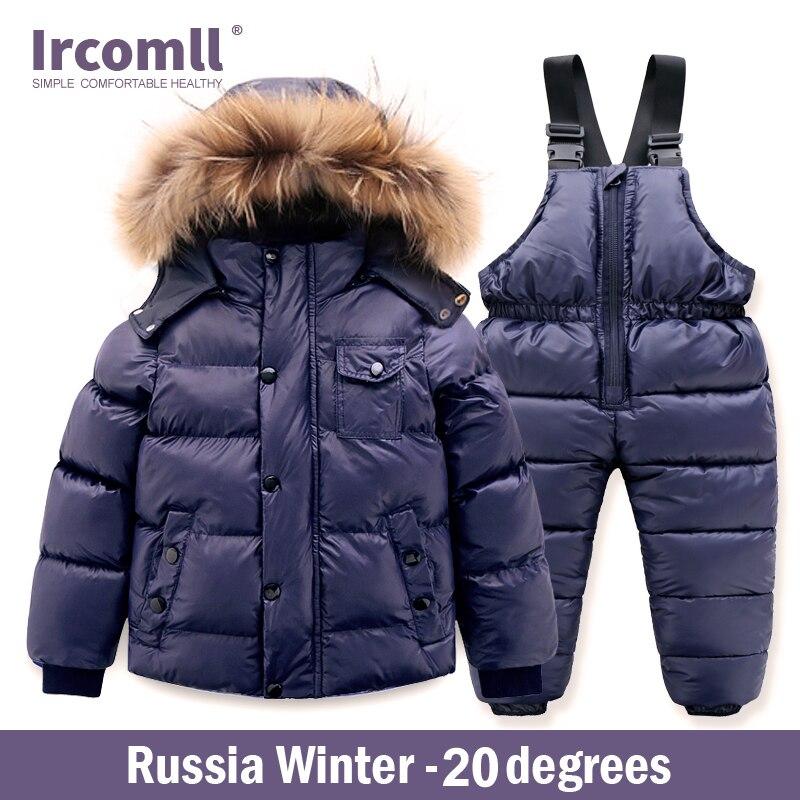 Ircomll Hight Quality Russia Winter Child Clothing Set Thick Cotton Down Waterproof Windproof Children Clothes Snow Wear Ski Su