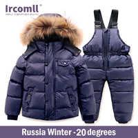 Ircomll di Qualità di Hight Russia di Inverno Insieme Dei Vestiti del Bambino del Cotone di Spessore Imbottiture Impermeabile Antivento Vestiti Dei Bambini Abbigliamento da Neve Da Sci Su