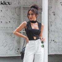Kliou schwarz neue sleeveless aushöhlen dünne elastische body frau sommer kühl casual einfache streetwear strampler körper mujer