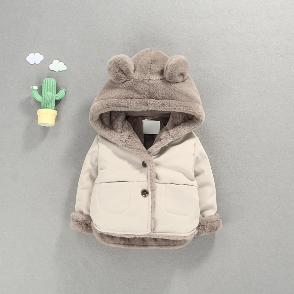 CYSINCOS Baby Girl Boy Coat Hooded Outwear Kids Clothes Winter Warm Fleece Plush Cotton Jacket Childrens Clothes Jacket Cardigan