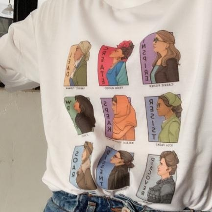 kuakuayu HJN Summer T-shirt Pictures of Nine Women Inspire Create Lead Resist Speak Write Discovery Dissent Soar Printed Shirt image