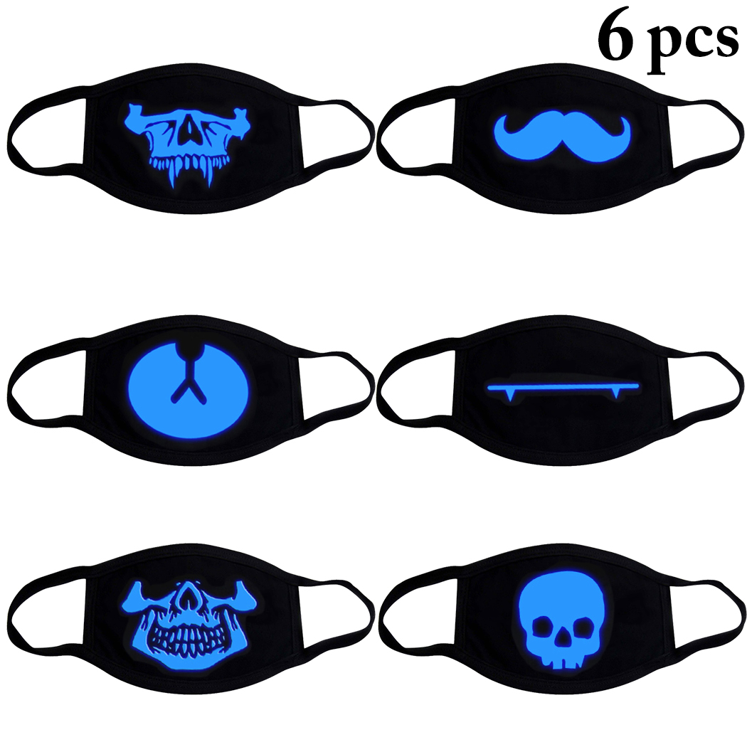 6pcs Cartoon Unisex Warm Glow In The Dark Cotton Dustproof Half Mouth Mask  Muffle Face Mask Kpop Bear Skull Mouth Mask