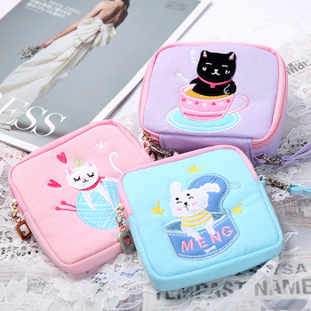Small Portable Storage Bag Organizer High Quality Cartoons Cute Cosmetic Bag Lipgloss Packaging Organizador Home Storage EB50SN image