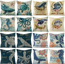 Fashion Home Throw Pillow Cover ocean biological flax Pillowcase car Sofa Lumbar pad Decorations Pillow Cushion Case ocean style oblique striped anchor pattern square shape flax pillowcase without pillow inner