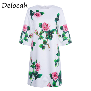 Delocah Women Fashion Autumn Designer Party Short Dress Hlaf Sleeve Sequined Beading Rose Floral Ladies Loose Dresses vestidos delocah new women autumn dress runway fashion 3 4 sleeve floral printed beading back zipper elegant vintage party mini dresses