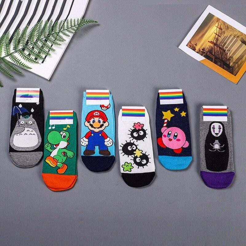 Cartoon No Face Man Print Sock Kirby Yoshi Mario Tonari No Totoro Fairydust Women Cotton Preppy Style Socks Cute Funny Fashion
