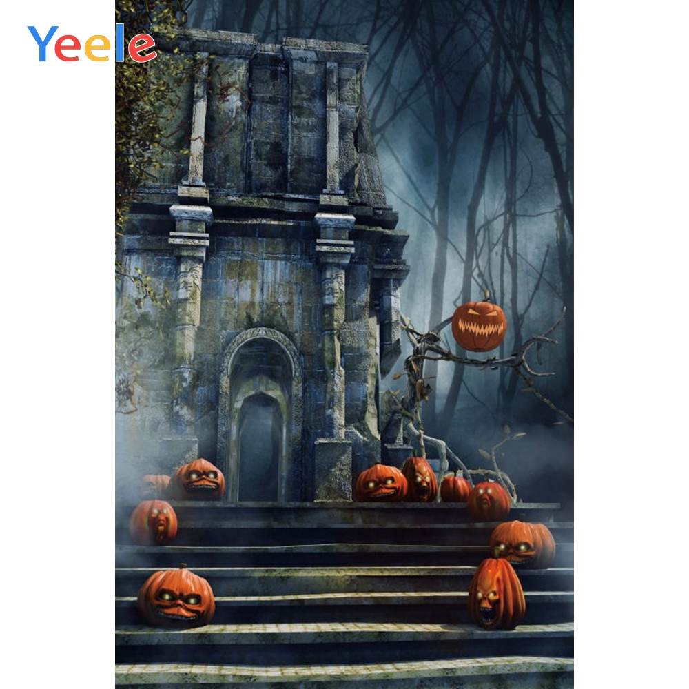 Yeele Halloween Backdrop Old Castle Pumpkin Lantern Tomb Forest Baby Custom Vinyl Photography Background For Photo Studio in Background from Consumer Electronics
