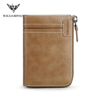 WILLIAMPOLO Leather Male Wallet Short Coin Purse Vintage Zipper Wallet PL317