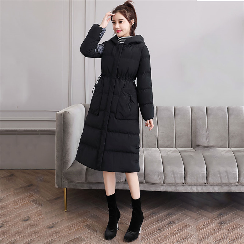 Retro Slim Down Cotton Women 2019 Autumn And Winter New Medium In Long Jacket Wild Casual Popular Hong Kong Style Cotton Coat568 - 3