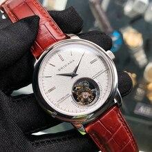 High Endธุรกิจผู้ชายจริงTourbillonนาฬิกาDual SapphireนาฬิกาST8002 Hand Wind Mensนาฬิกาข้อมือ