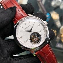 Montre bracelet mécanique pour hommes daffaires, modèle ST8002 avec Tourbillon, double saphir, mouvement, haut de gamme