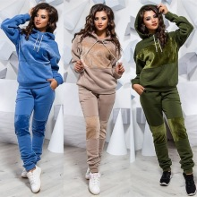 Women Casual Velvet Patchwork Tracksuit Sportswear Sets Hooded Sweatshirt+Sweatpant 2 Pcs Set Spring Autumn Jogger