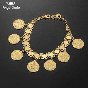Image 1 - Женский браслет в виде Соединённых золотых монет, мужской браслет золотого цвета в турецком стиле, ювелирные изделия из фетра, африканские, мусульманские, мусульманские, арабские браслет, свадебные подарки