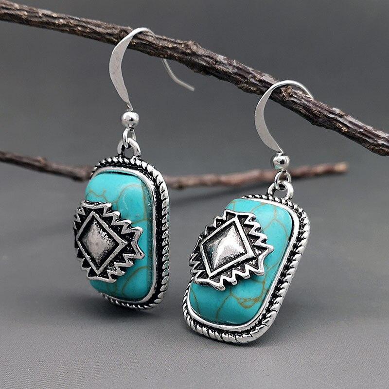 Богемные дизайнерские геометрические бирюзовые серьги для женщин, этнические украшения, античные серебряные серьги с голубым камнем