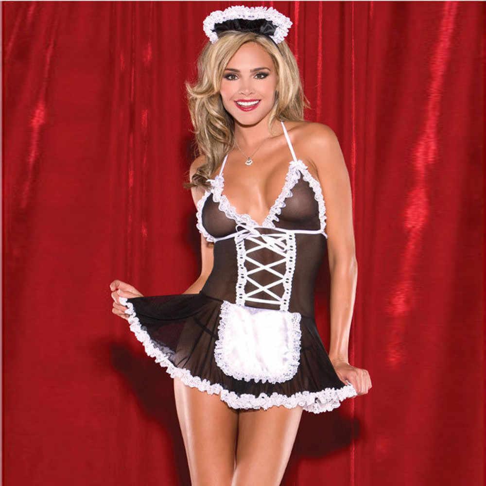 Sexy kostuums vrouwen Cosplay Maid Uniform Lace Spice Lingerie G-String Jurk Nachtkleding Ondergoed Erotische Lingerie Voor Vrouwen