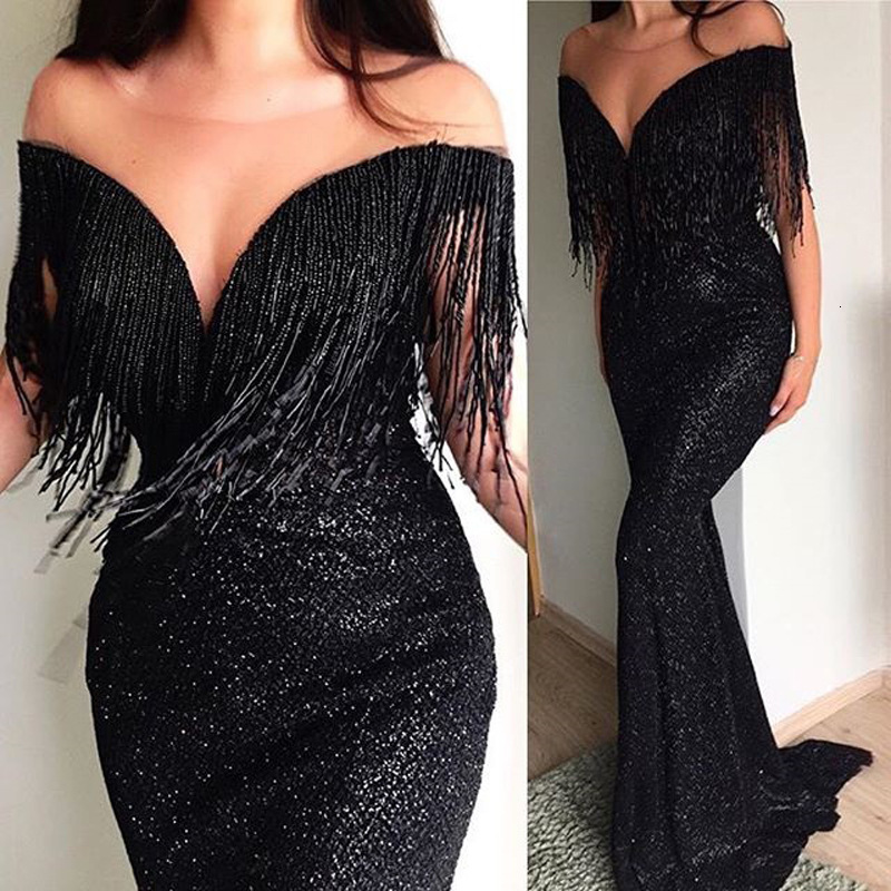 BacklakeGirls Sexy Black V Neck Off Shoulder Tassels Sequin   Evening     Dresses   Long Mermaid Party Prom   Dress   Robe De Soiree Longue