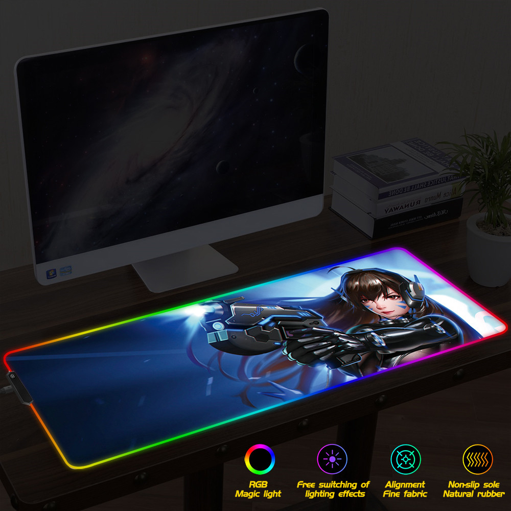 Large Gaming Mouse Pad Gamer Mousepad RGB Mouse Pad XXL Computer Mat LED Backlit Mat Mause Carpet Desk Mat for Overwatch OW DVA image