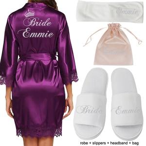 Image 5 - Gepersonaliseerde Datum Naam Kant Kimono Gewaad Vrouwen Bruid Bruidsmeisje Gewaden Bachelorette Bruiloft Preparewear