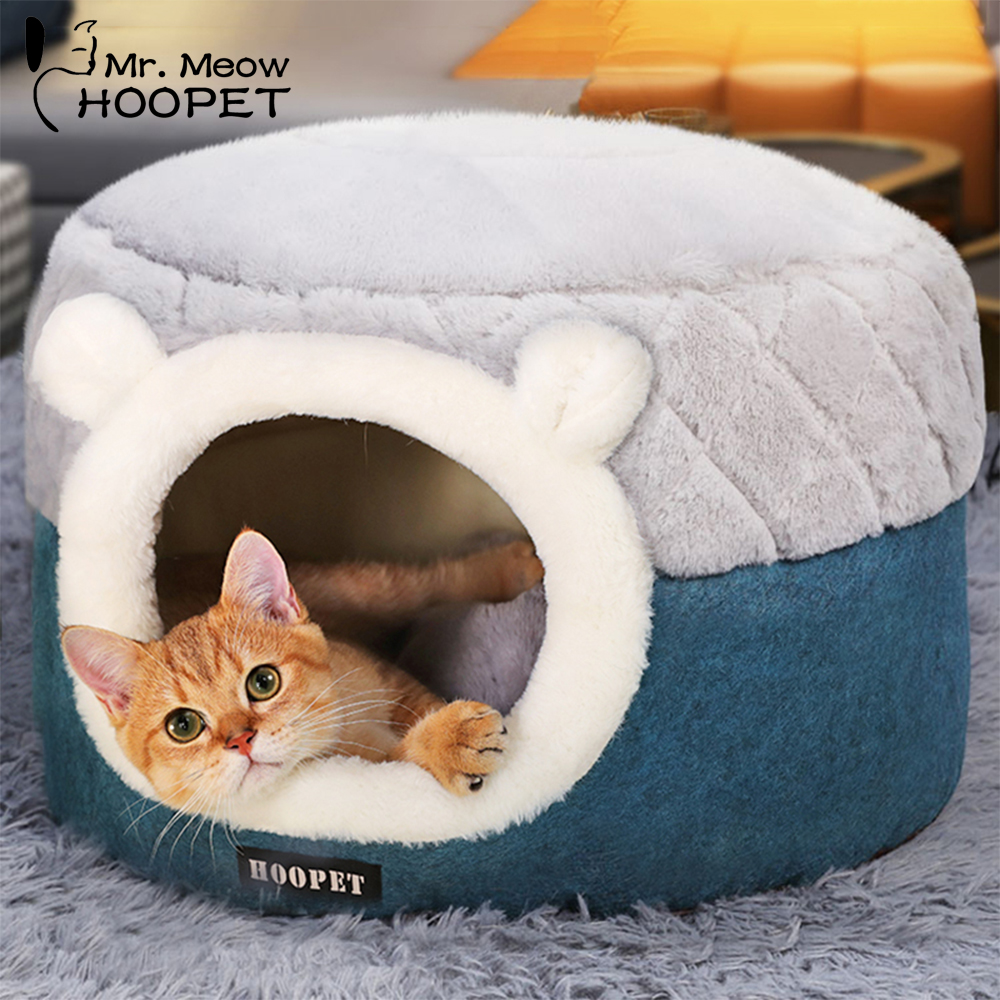 Hoopet Pet Cat Basket Bed Cat House Warm Cave Kennel For Dog Puppy Home Sleeping Kennel Teddy Comfortable House Cat Bed