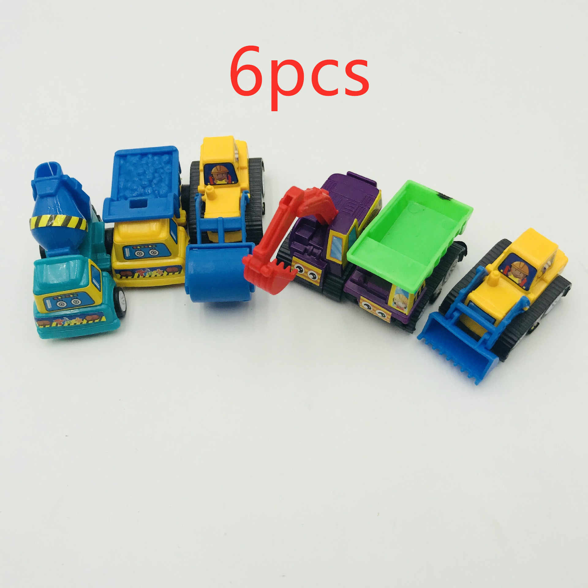 6pcs/Set Pull Back Car Toys Mobile Machinery Shop Construction Vehicle Fire Truck Taxi Model Baby Mini Cars Gift Children Toys
