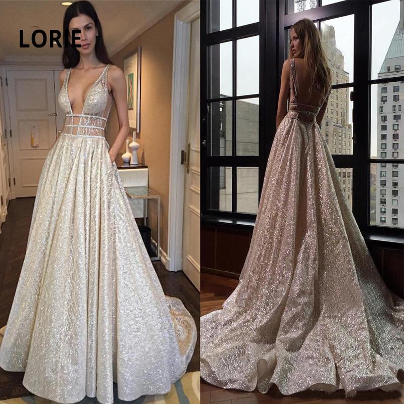 LORIE Shiny Wedding Dress Boho Backless Beach Wedding Gown Deep V-neck Sleeveless Bridal Vestido De Noiva Gelinlik Arabic Mariee