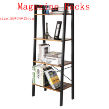 Retro Magazine Racks Simple Book Shelf Floor Shelf Bookcase Home Movable Storage Mounting Bookcase Modern Sofa Side Cabinet HWC
