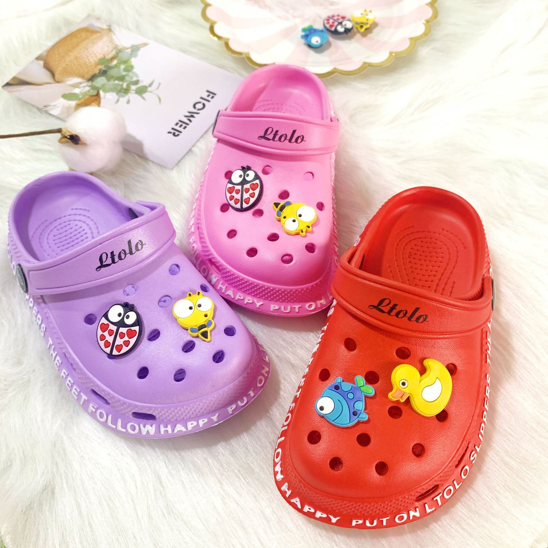 Ltolo Children Kids Girl Mules Clogs Summer Crock Garden Beach Slippers Sandals Cave Hole Baby Shoes For Girls EUR23-34
