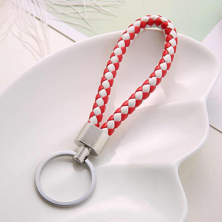 Moda artesanal corda de couro tecido chaveiro de metal chaveiros porta-chaves masculino ou feminino chave titular capa auto chaveiro presentes