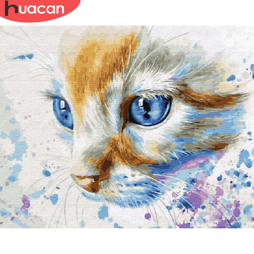 HUACAN Painting By Numbers Cat Animals HandPainted Kits Drawing Canvas DIY Oil Pictures By Numbers Home Decoration Gift