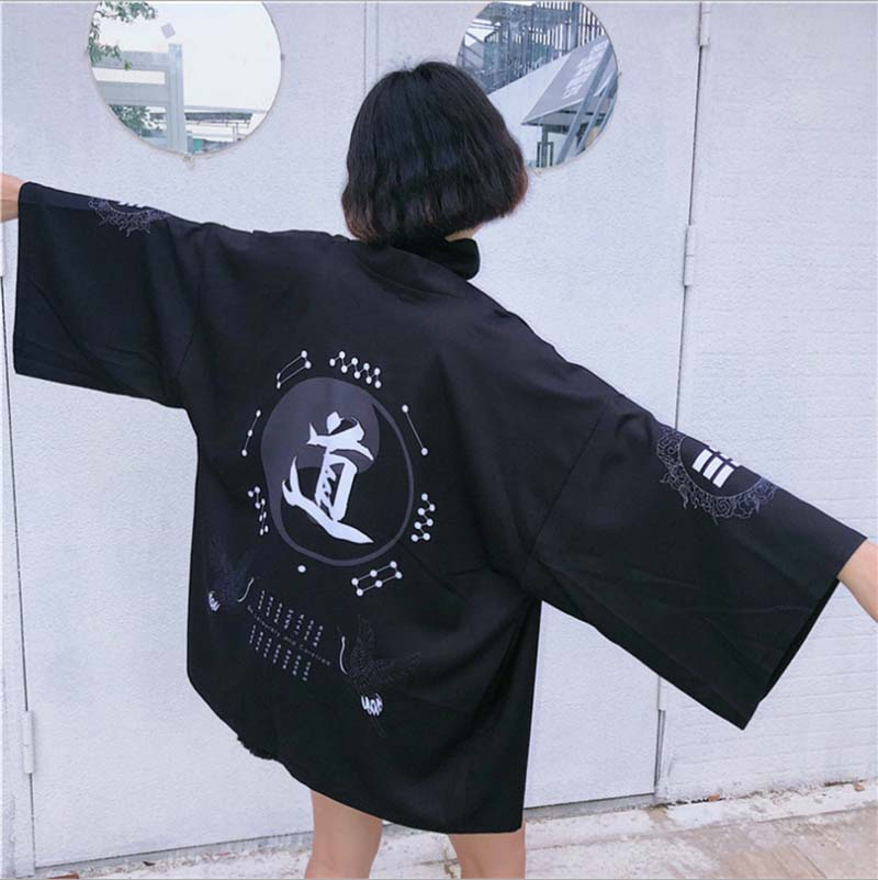 Kimonos Women Japanese Kimono Cardigan Cosplay Costume Black Shirt Blouse Women Japanese Yukata Summer Beach Kimono For Lady