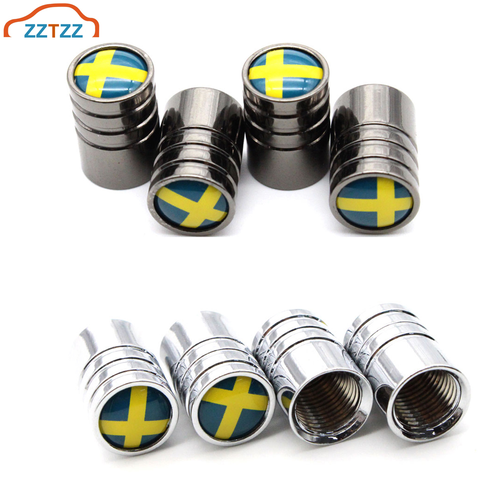 4 Pcs/Set Copper Sweden Flag Tire Valve Stem Cap Dustproof Tire Wheel Stem Air Valve Caps For Auto Cars