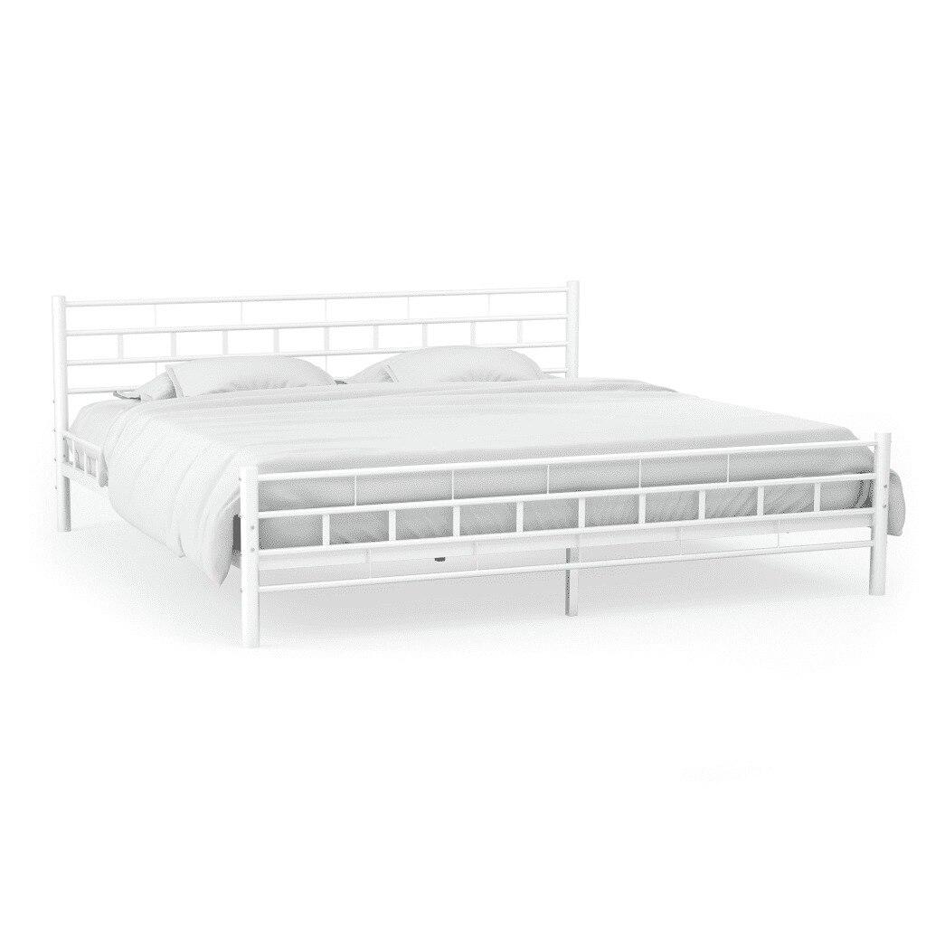 140x200 CM 간단한 현대 금속 침대 프레임 Slatted 기본 블록 디자인 화이트 메탈 침대 성인 키즈 침대 프레임 침실 가구의
