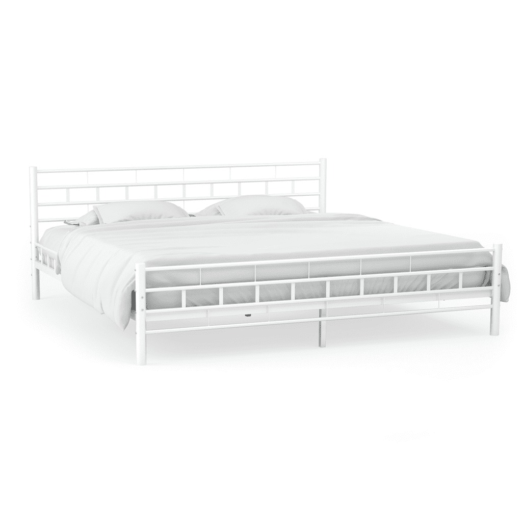 Vidaxl 140x200CM Simple Modern Metal Bed Frame With Slatted Base Block Design White Metal Bed Adult Kids Bedroom Furniture