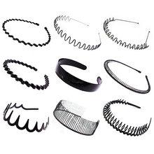 Bandeau ondulé pour femmes et hommes, couvre-chef en métal et plastique, confortable et antidérapant, Simple, noir, accessoires pour cheveux, nouvelle mode 2021