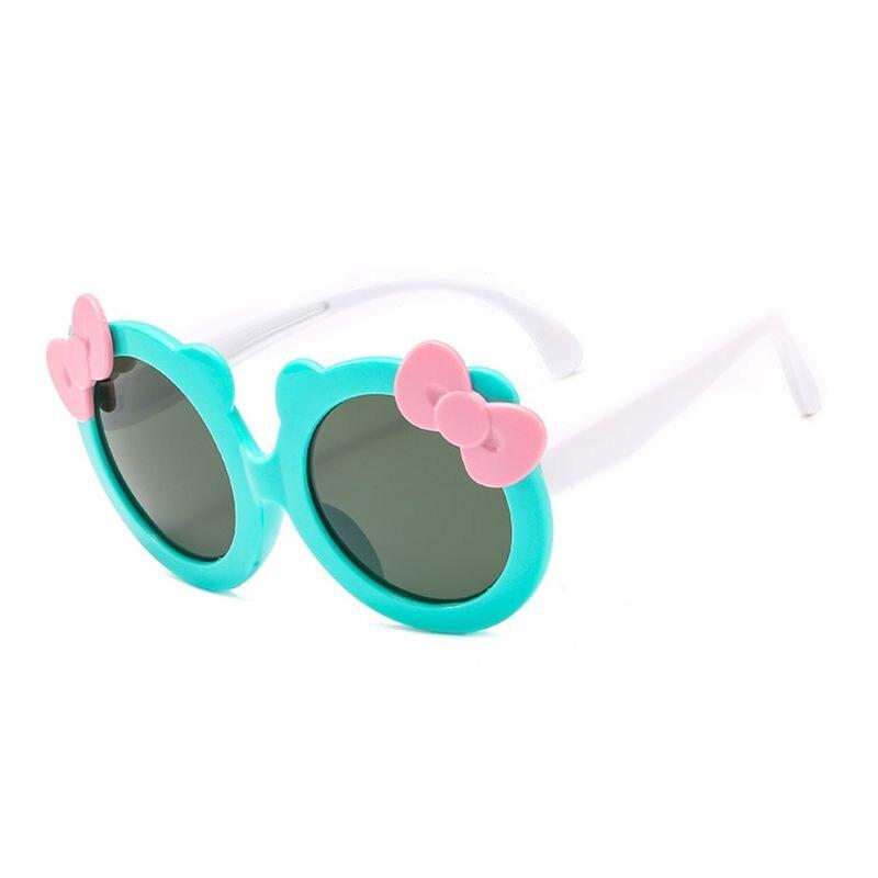 Детские поляризованные солнцезащитные очки для девочек, милые Солнцезащитные очки с бантом, силиконовые защитные очки UV400 - Цвет линз: GN