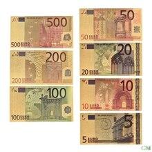 7 шт./лот 5 10 20 50 100 200 500 EUR золотых банкнот в центре сообщений в течение 24K Gold поддельные бумажных денег для сбора Банкноты евро наборы для ухода...