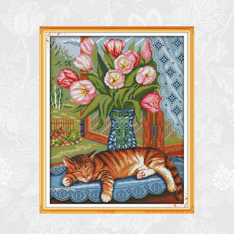 Joy sunday Cat on the windowsill Paintings Cross-stitch Printed Canvas DIY Handmade Embroidery Sets for Needlework Crafts image