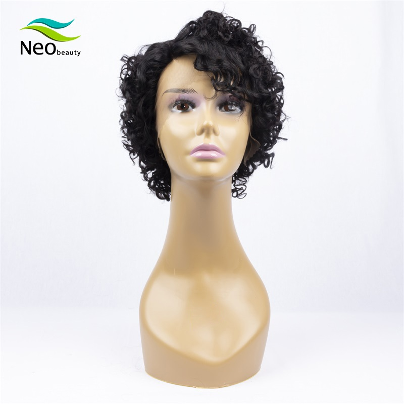 Pixie Cut Short Black Lace Wig Kinky Curly Human Hair Wig Part Lace Short Wigs For Women Lophy Soft Remy Curly Short Bob Wig